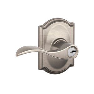 Schlage F51ACC/CAM Accent Keyed Entry Leverset with Camelot Decorative Rosette