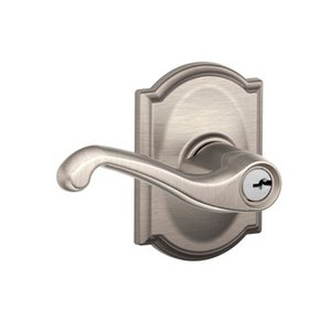 Schlage F51FLA/CAM Flair Keyed Entry Leverset with Camelot Decorative Rosette