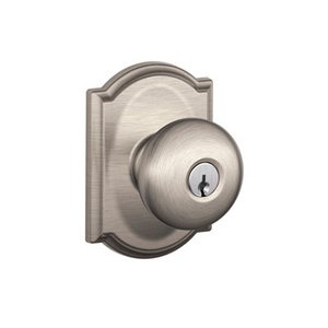 Schlage F51PLY/CAM Plymouth Keyed Entry Knobset with Camelot Decorative Rosette