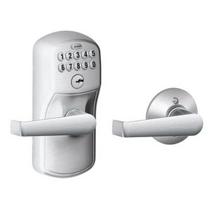 Schlage FE575 PLY/ELA Plymouth Keypad Auto-Lock Entry Leverset with Elan Lever