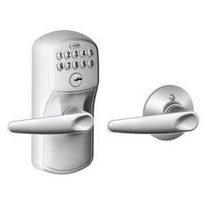 Schlage FE575 PLY/JAZ Plymouth Keypad Auto-Lock Entry Leverset with Jazz Lever