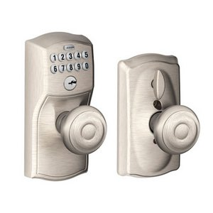 Schlage FE595 CAM/GEO Camelot Keypad Flex-Lock Entry Knobset with Georgian Knob