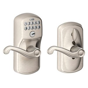 Schlage FE595 PLY/FLA Plymouth Keypad Flex-Lock Entry Leverset with Flair Lever