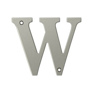 """Deltana RL4W Solid Brass 4 Inch House Letter """"W"""""""