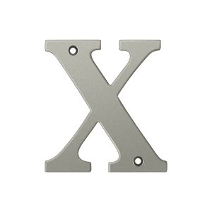 """Deltana RL4X Solid Brass 4 Inch House Letter """"X"""""""