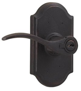 Weslock 7140 RH Carlow Molten Bronze Collection Keyed Entry Leverset with Premiere Rosette for Right Handed Doors
